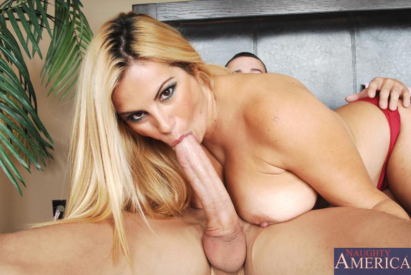 Busty blonde milf mom