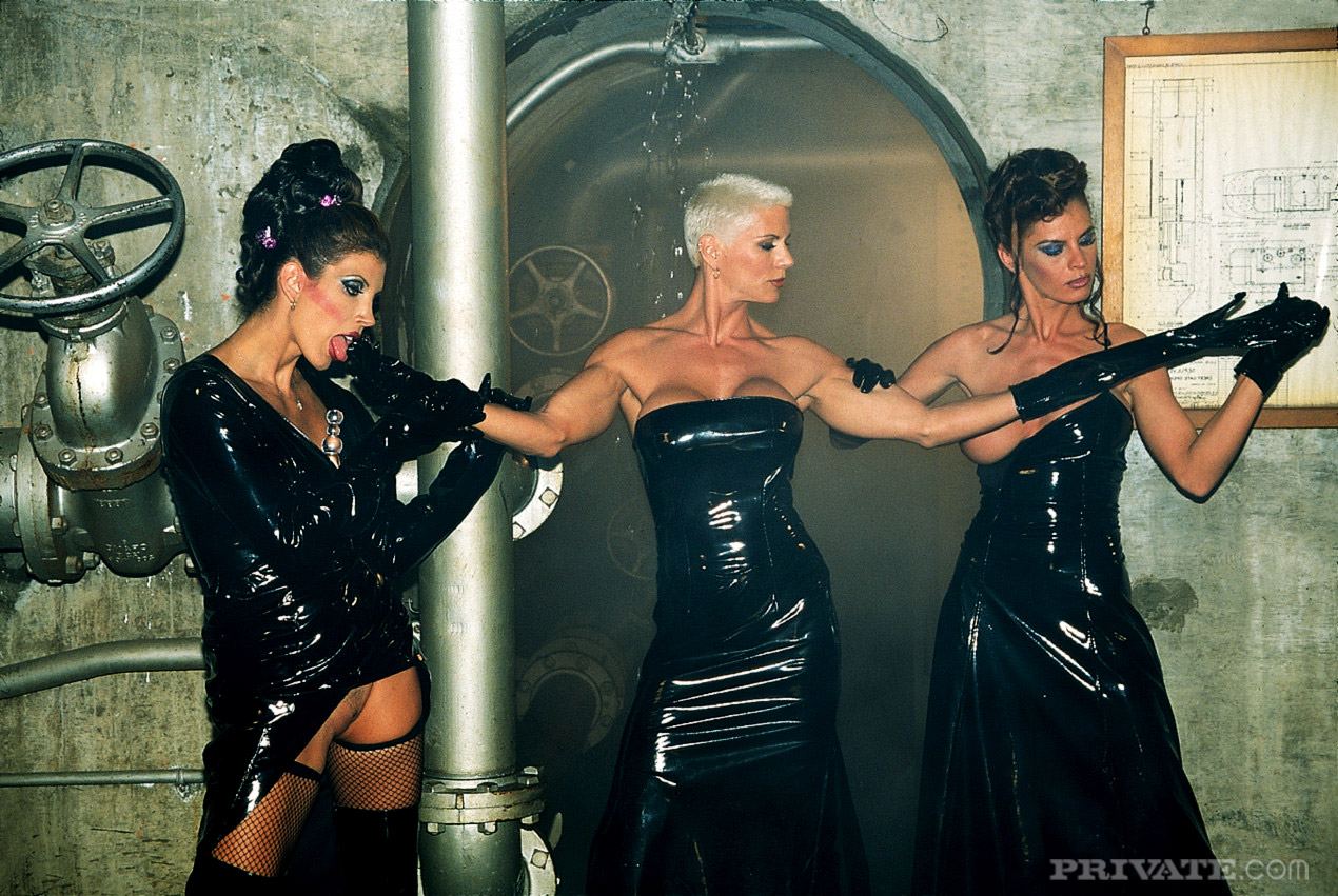 Women having sex in leather